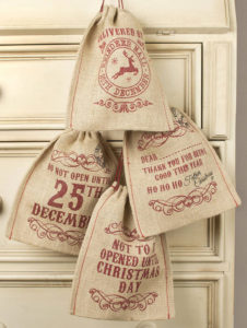 Christmas Jute drawstring bag