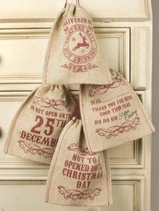 Christmas Jute drawstring bag