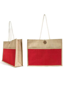 Jute bag with front pocket